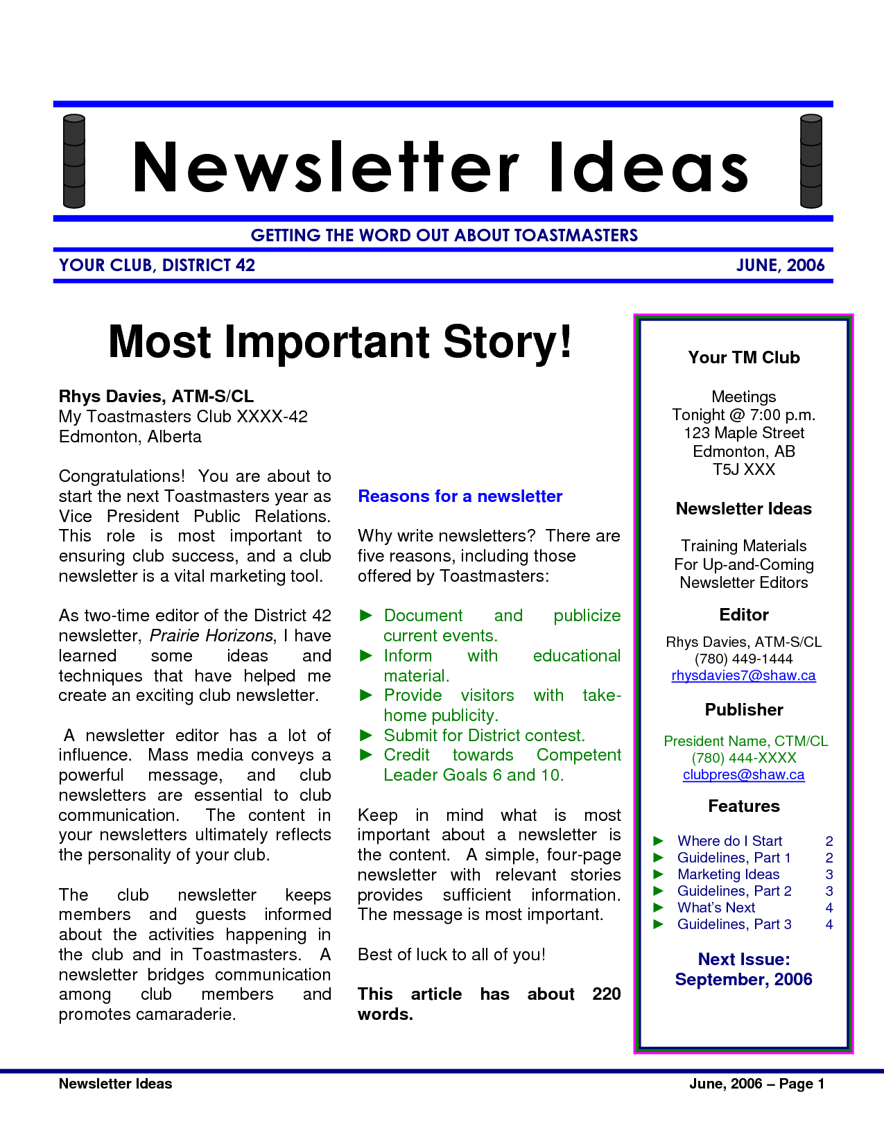 Create a newsletter using Publisher